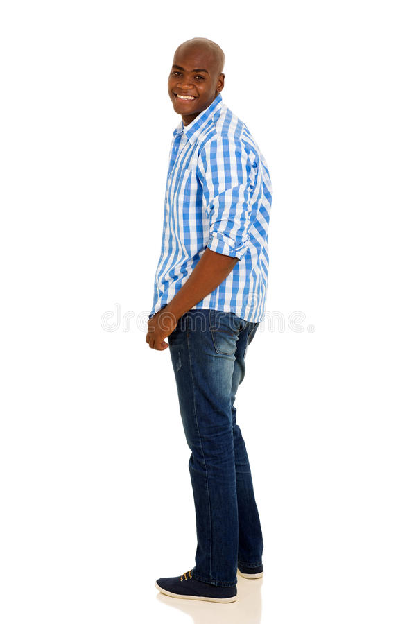 Afrykański mężczyzna przyglądający z powrotem fotografia stock