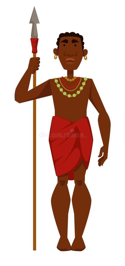 Afrykański mężczyzny wojownika plemienia członek w biżuterii z dzidą royalty ilustracja