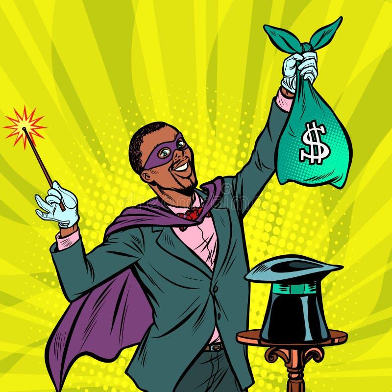 Afrykański magik z dolarowym pieniądze ilustracja wektor