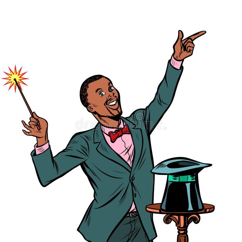 Afrykański magik, zadziwiający występ Odizolowywa na białym backgrou ilustracji