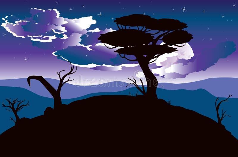 Afrykański noc krajobraz royalty ilustracja