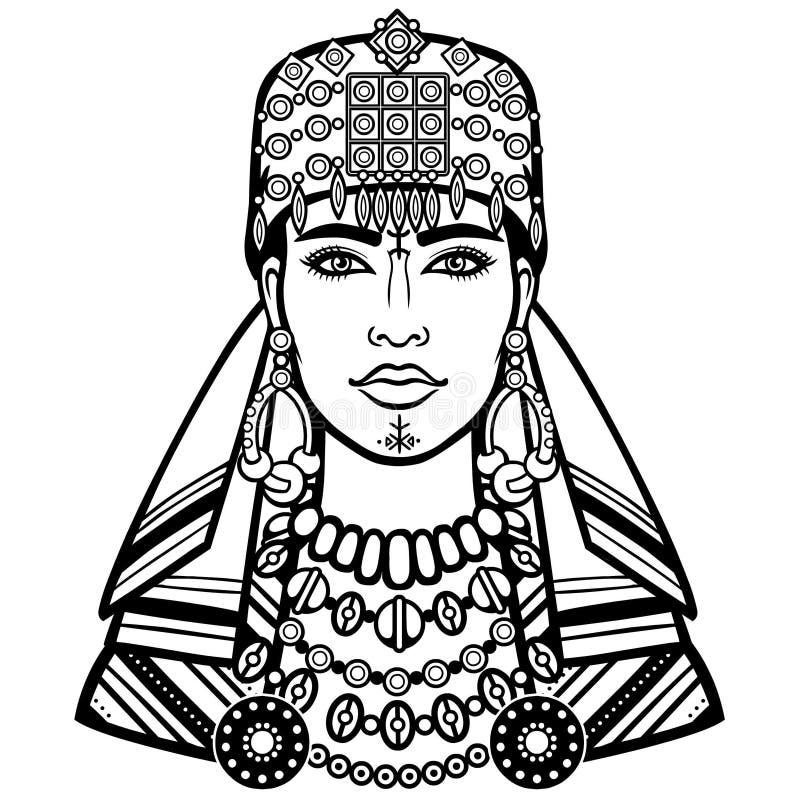 Afrykański piękno: animacja portret piękny womanin szalik ilustracja wektor