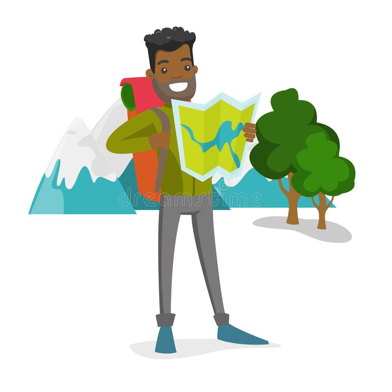 Afrykański podróżnik patrzeje mapę z plecakiem royalty ilustracja