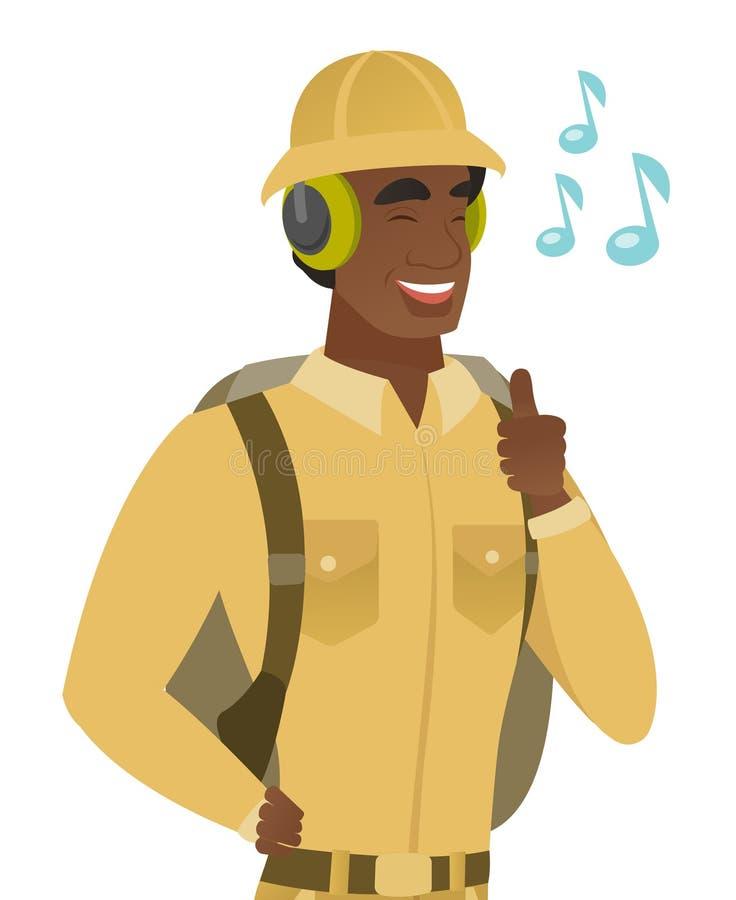 Afrykański podróżnik słucha muzyka w hełmofonach royalty ilustracja