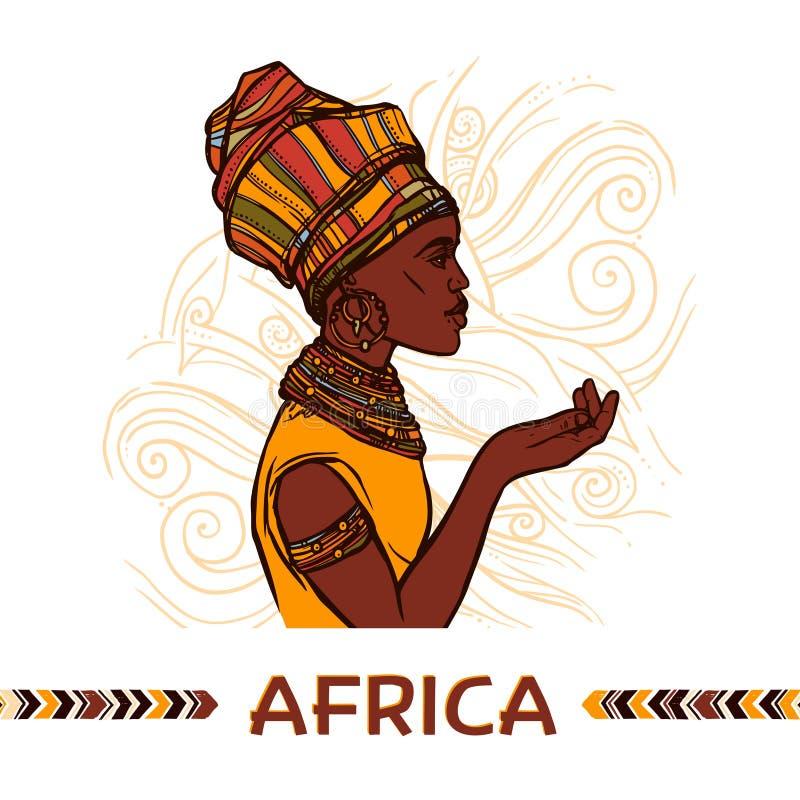 afrykański portret kobiety ilustracji