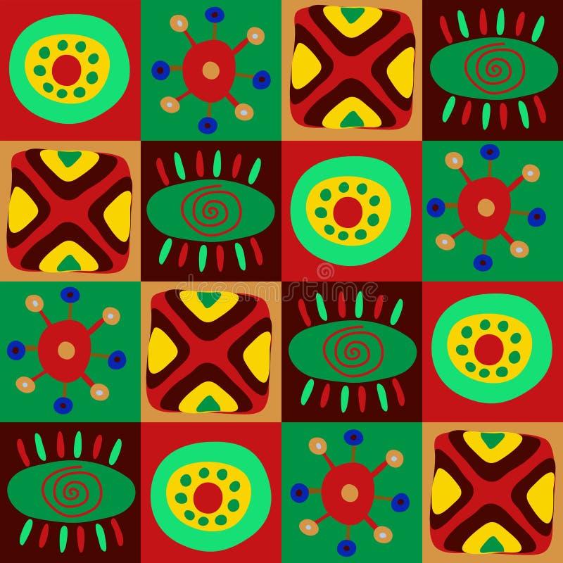 Afrykański praforma wzór w kwadratach ilustracji