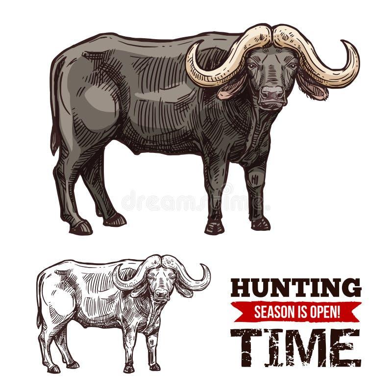 Afrykański przylądka bizonu lub pustynia ssaka wołowy zwierzę royalty ilustracja
