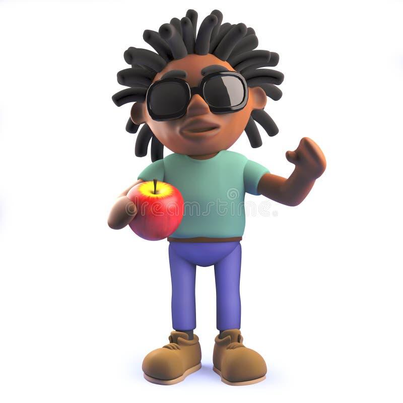 Afrykański rastafarian mężczyzna trzyma jabłka w kreskówce 3d ilustracja wektor