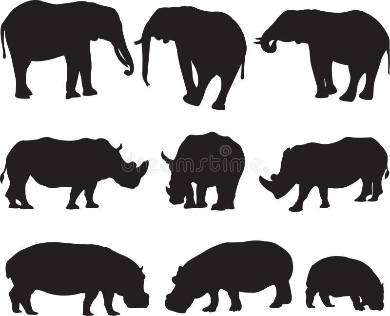 Afrykański słoń, biała nosorożec i hipopotam sylwetki kontur, royalty ilustracja