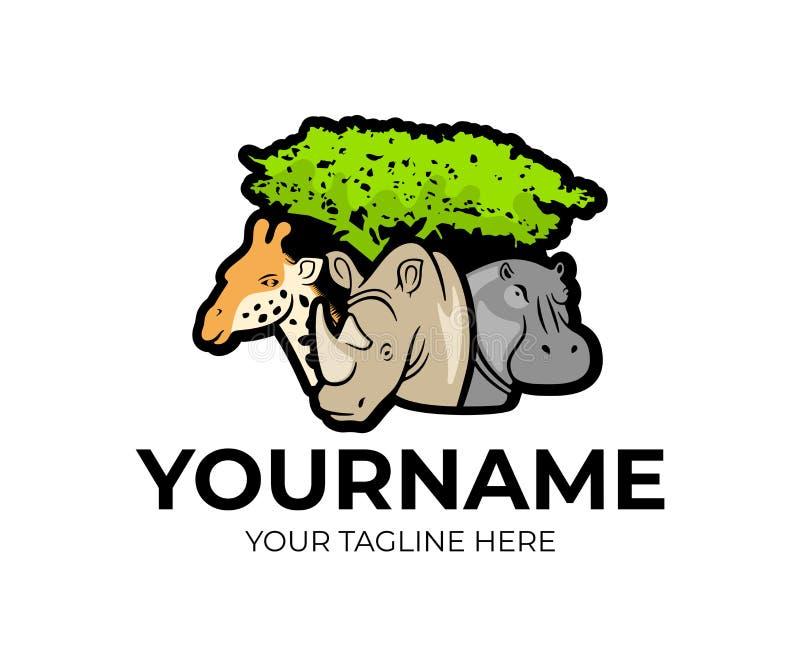 Afrykański safari, żyrafa, nosorożec i hipopotam pod drzewem, logo projekt Zwierzęta, natura, park narodowy i zoo, wektorowy proj royalty ilustracja