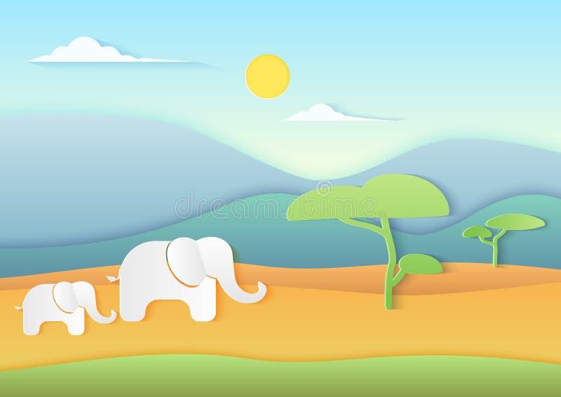 Afrykański sawanna krajobraz z słoniami, górami i drzewami, Modny papier cuted stylowa wektorowa ilustracja ilustracji