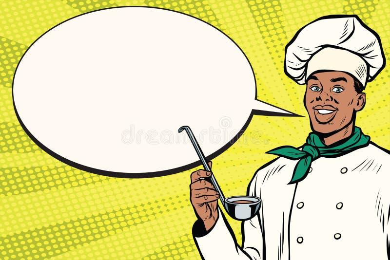 Afrykański szef kuchni z kopyści kreskówki bąblem ilustracja wektor