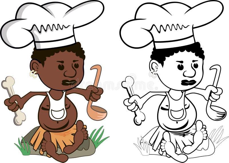 Afrykański szefa kuchni kucharz royalty ilustracja
