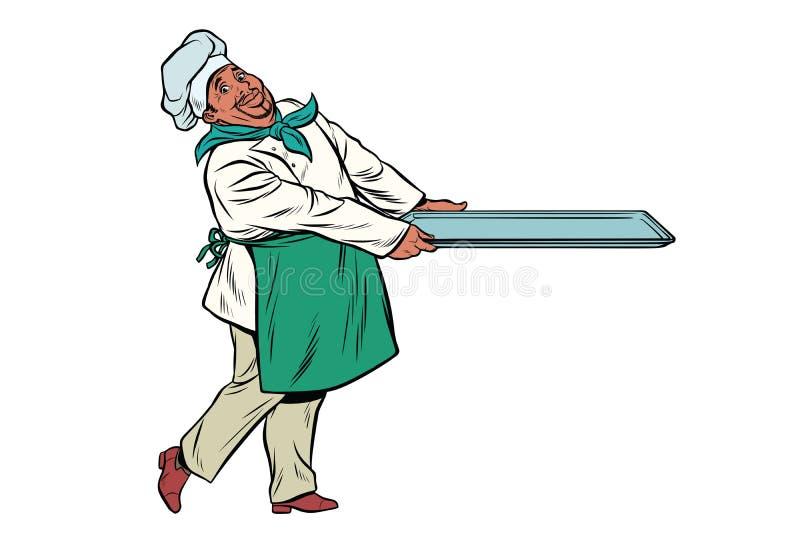 Afrykański szefa kuchni kucharz z tacą jedzenie ilustracji