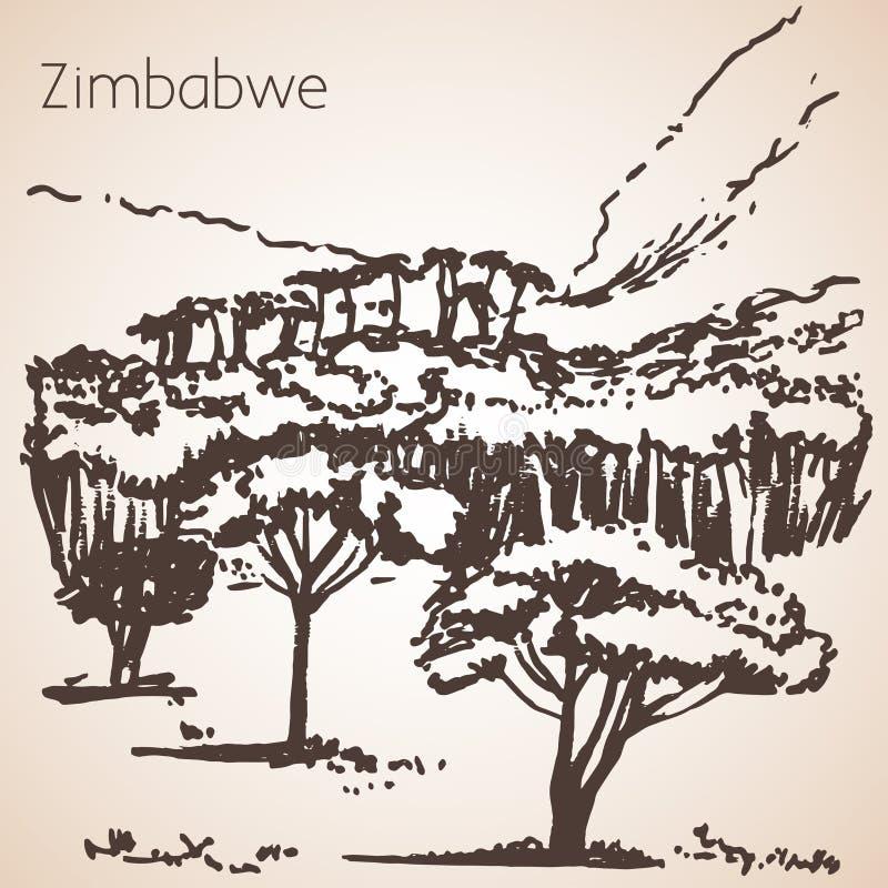 Afrykański widoku nakreślenie