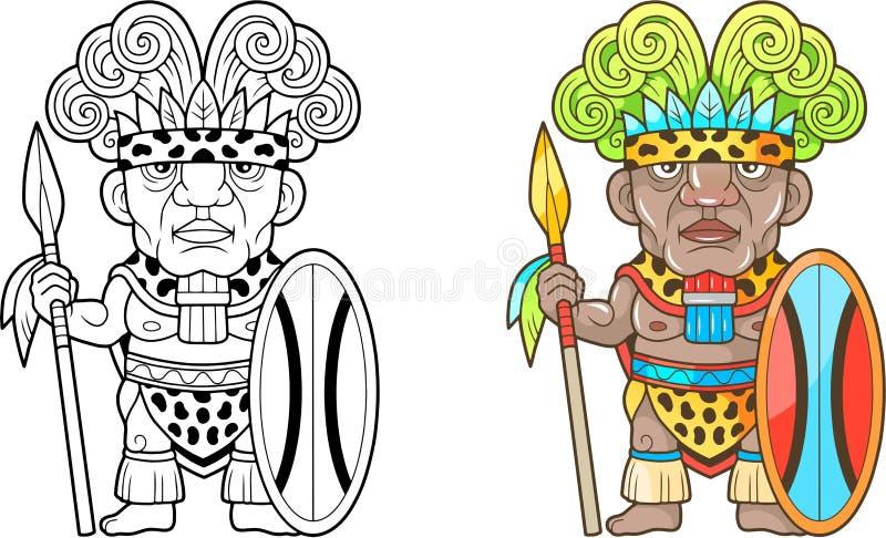 Afrykański wojownik, śmieszna ilustracja, kolorystyki książka ilustracji