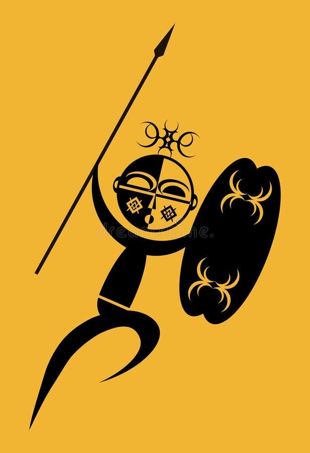afrykański wojownik royalty ilustracja