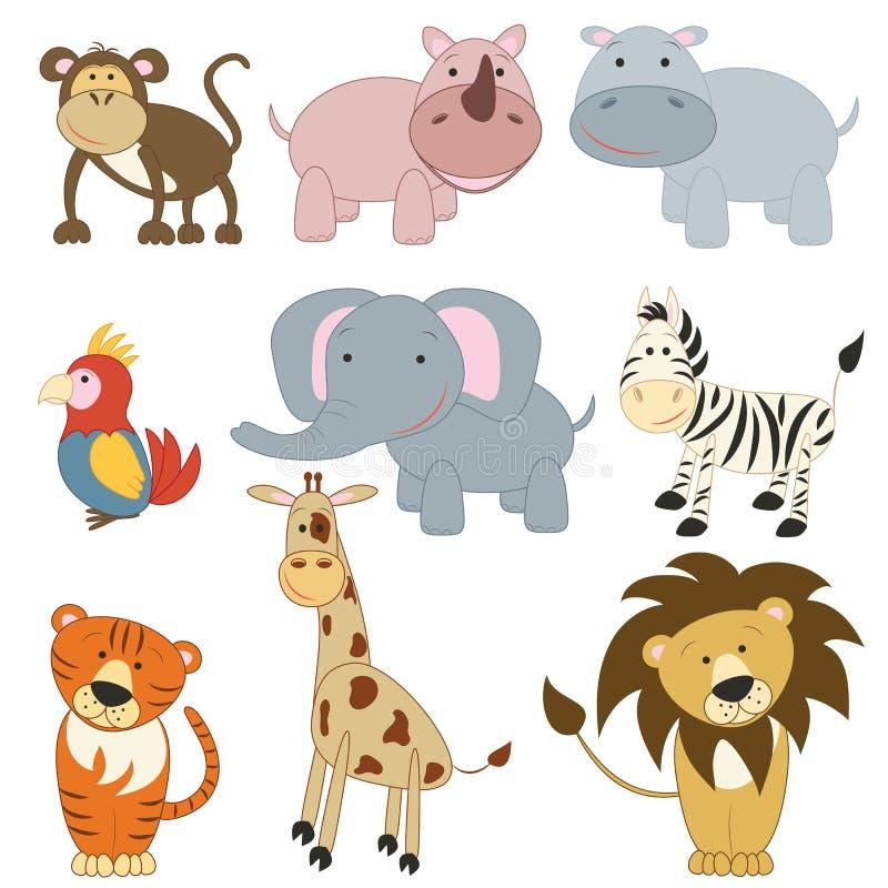 afrykański zwierząt kreskówki set royalty ilustracja