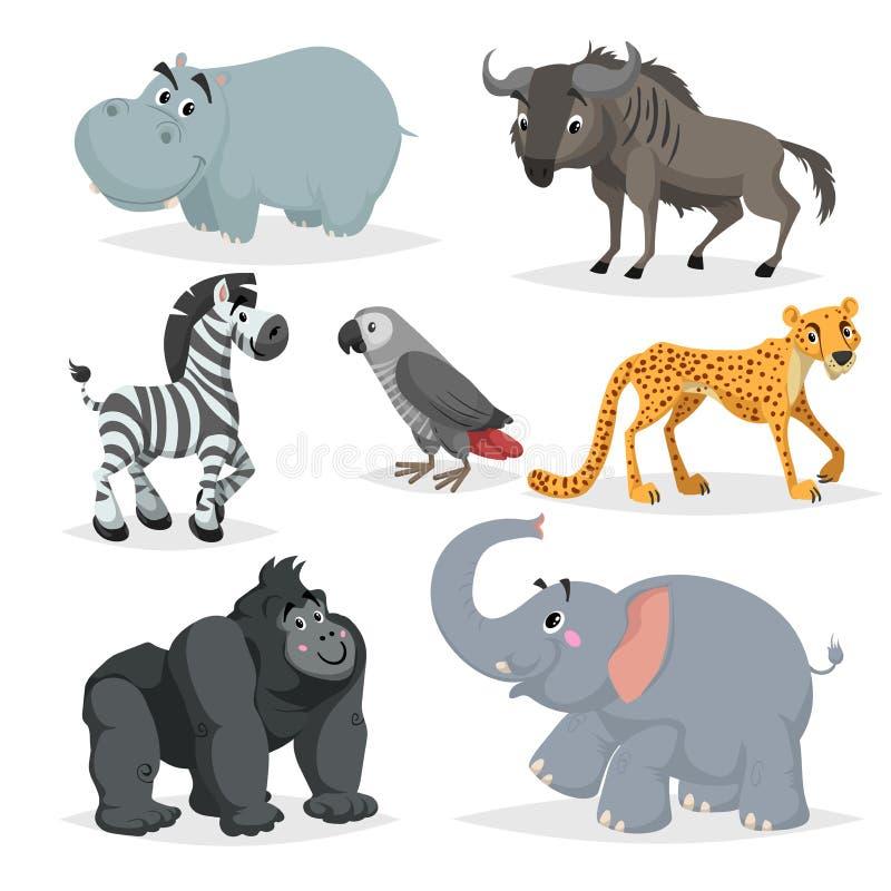 Afrykański zwierzę kreskówki set Hipopotam, goryl małpa, zoo przyrody kolekcja, szara papugi, słonia, geparda, zebry i wildebeest ilustracji