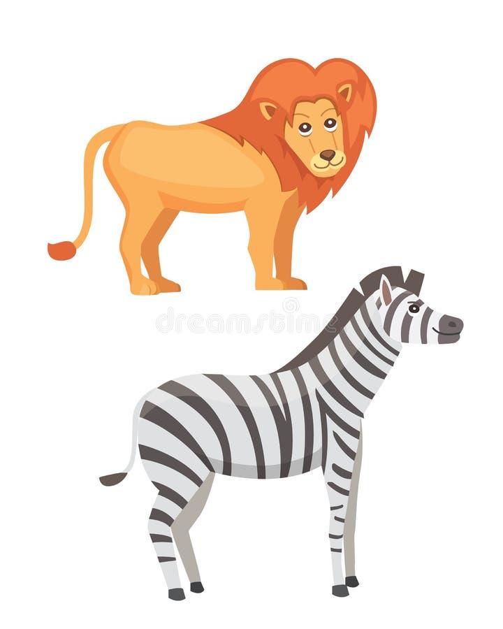 Afrykański zwierzę kreskówki wektoru set lwa i zebry safari odosobniona ilustracja royalty ilustracja