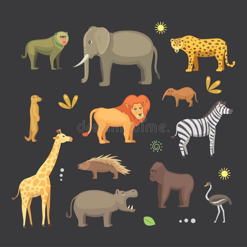 Afrykański zwierzę kreskówki wektoru set słoń, nosorożec, żyrafa, gepard, zebra, hiena, lew, hipopotam, krokodyl, gorila i royalty ilustracja