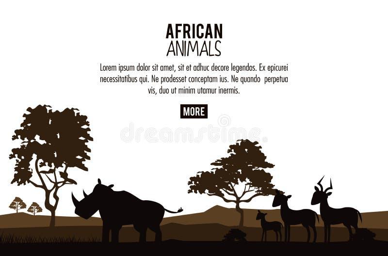 Afrykański zwierzęcia pojęcie ilustracji