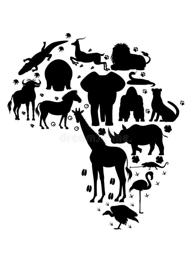 Afrykański zwierzęcy sylwetka set royalty ilustracja