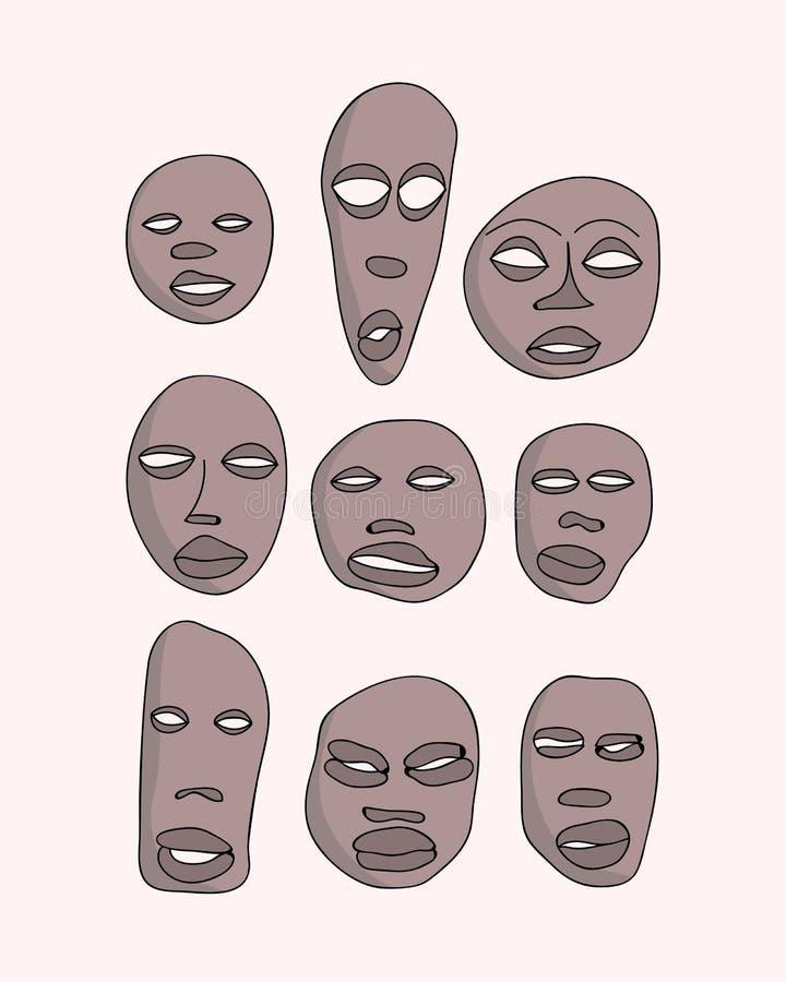 afrykańskich maski ilustracji