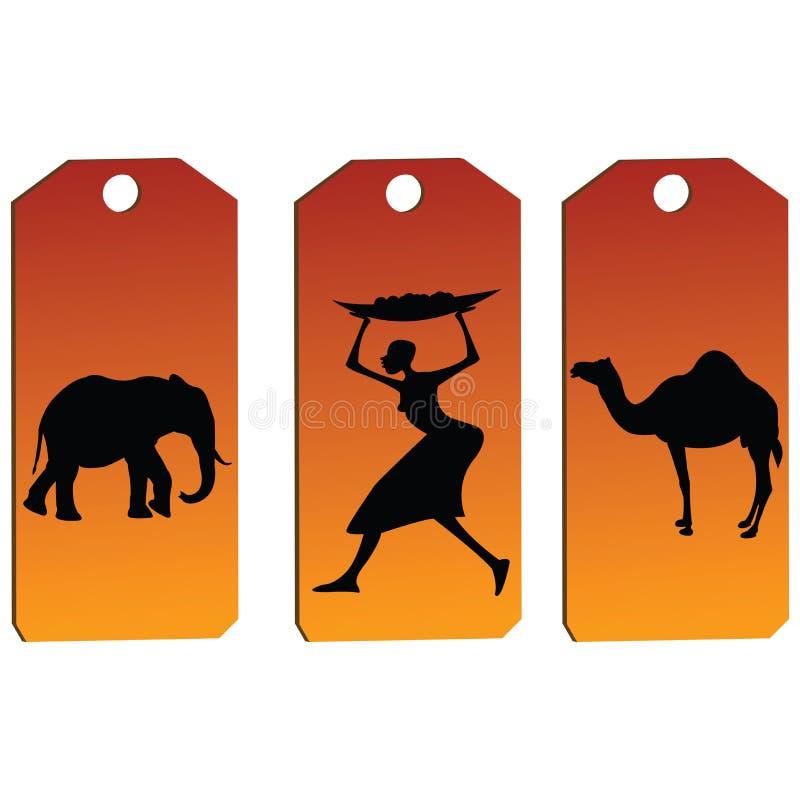 afrykańskie etykietki ilustracja wektor