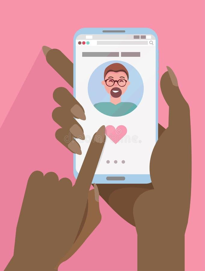 Afrykańskie kobiety dwa ręki trzymają smartphone z Onlinym datowanie app na ekranie Online datowanie, długodystansowy związek pal ilustracja wektor