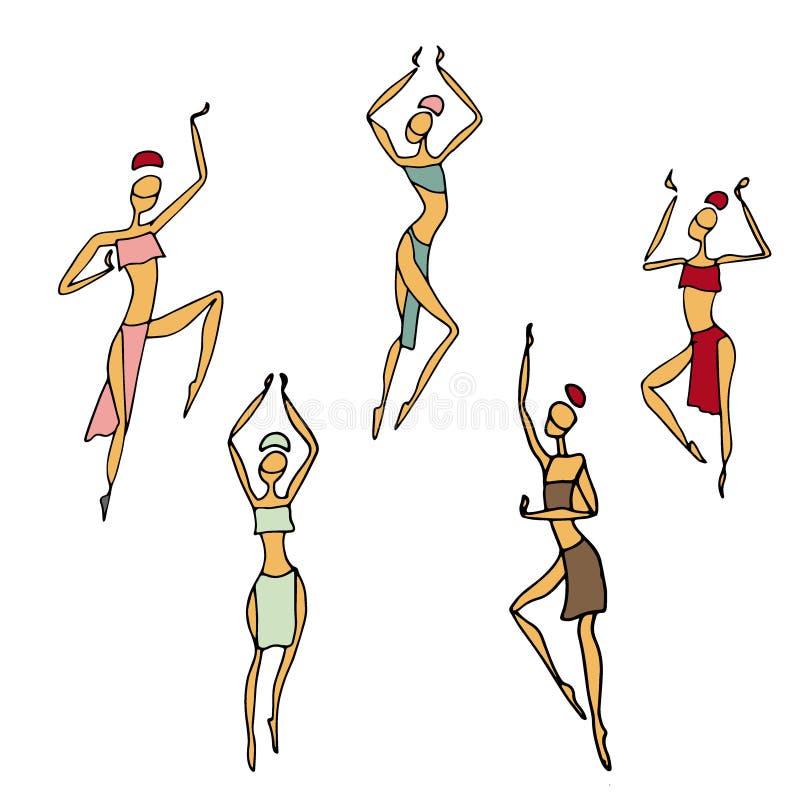 Afrykańskie kobiety w tradycyjnej sukni Dancingowi afrykanie i aborygenu etniczny styl royalty ilustracja