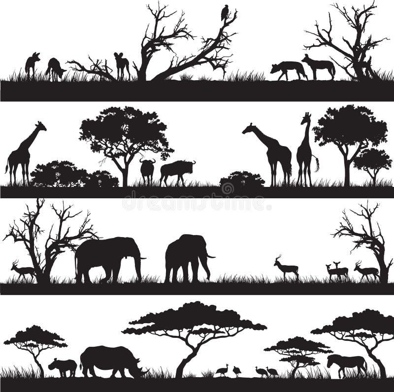 Afrykańskie natur sylwetki royalty ilustracja
