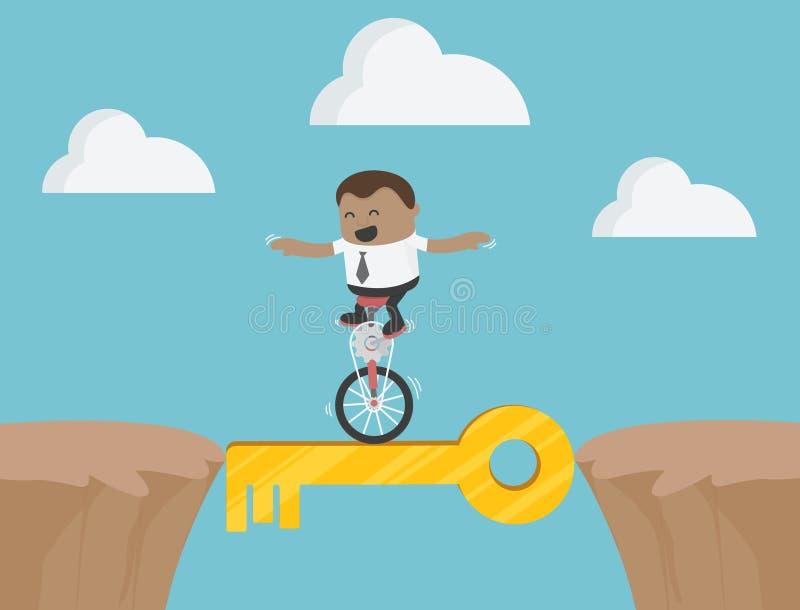 Afrykańskiego biznesmena roweru Akrobatyczny przedstawienie na Niebezpiecznym sukcesie royalty ilustracja