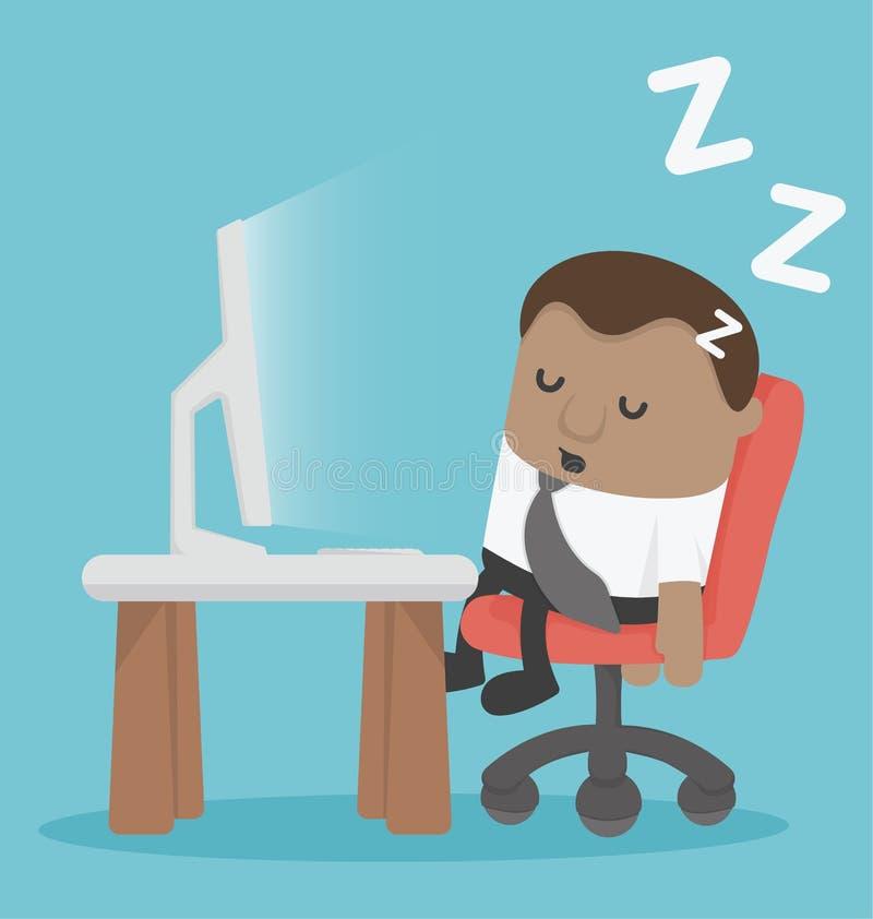 Afrykańskiego biznesmena zmęczony dosypianie przy biurkiem Przy pracującym miejscem ilustracji