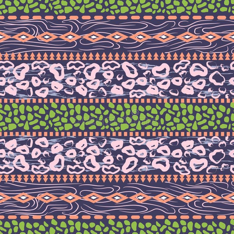 Afrykańskiego etnicznego deseniowego projekta fiołkowa purpura kropkuje abstrakcjonistycznego bezszwowego druk z zwierzęcej skóry royalty ilustracja