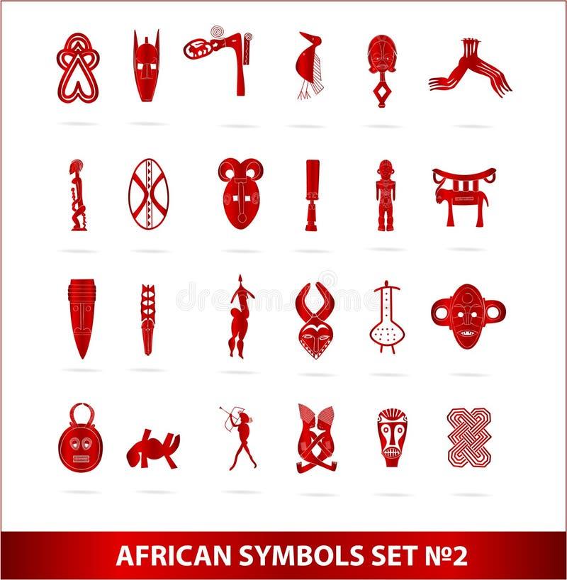 afrykańskiego koloru bóg czerwoni ustaleni symbole ilustracja wektor