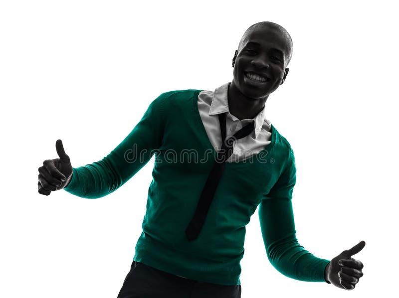 Afrykańskiego murzyna uśmiechnięty kciuk w górę sylwetki zdjęcie royalty free