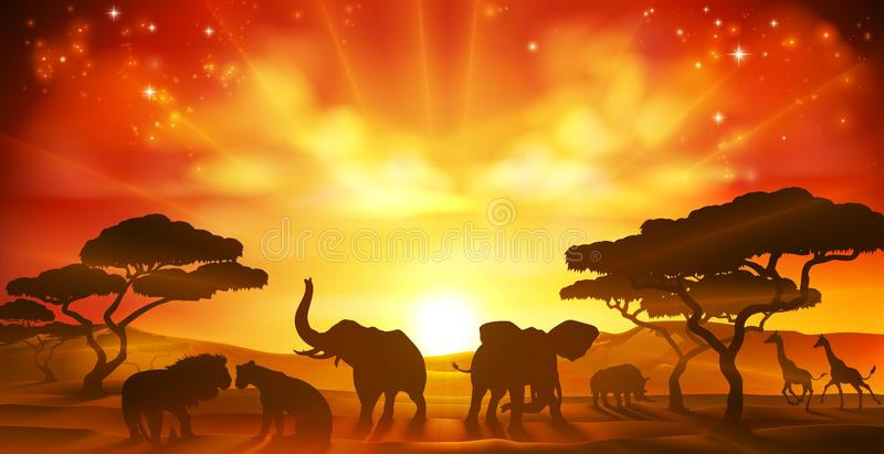 Afrykańskiego safari sawanny sylwetki Zwierzęca scena royalty ilustracja