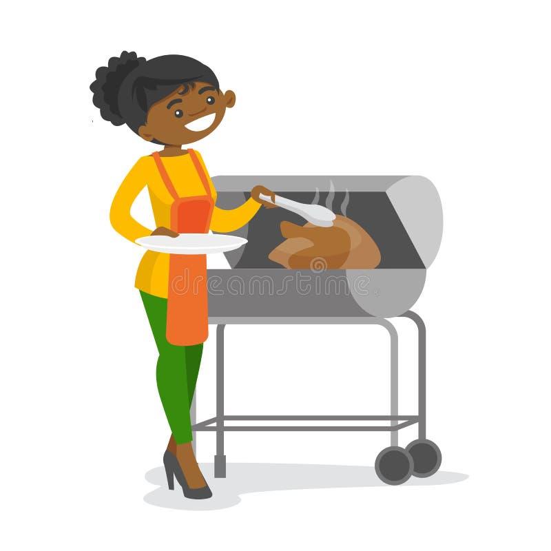 Afrykańskiej kobiety kulinarny kurczak na grillu ilustracja wektor