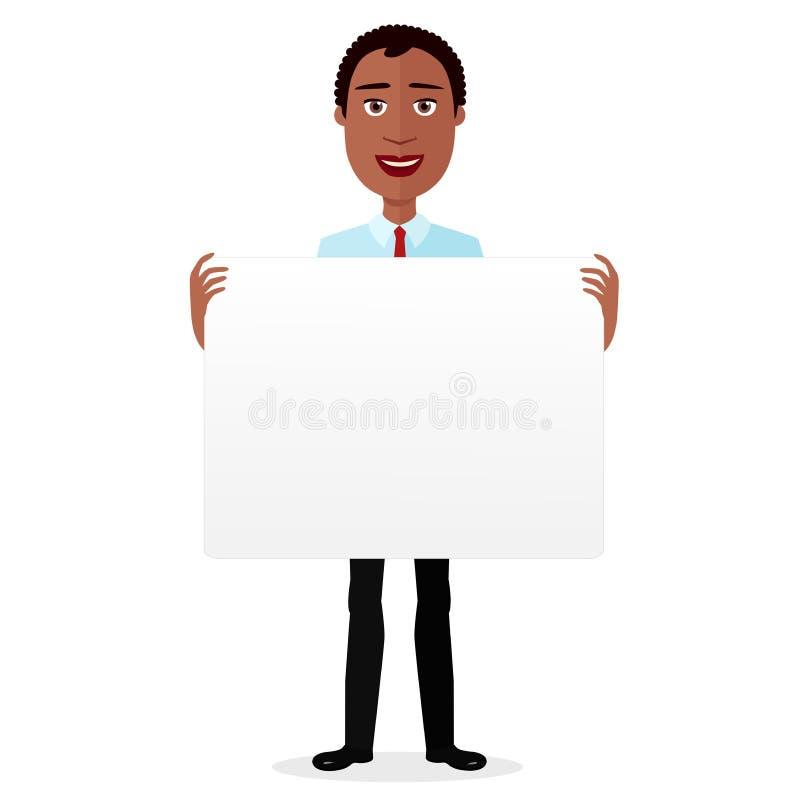 Afrykańskiej kreskówki uśmiechu mężczyzna mienia płaski sztandar odizolowywający na białym tło wektorze ilustracja wektor