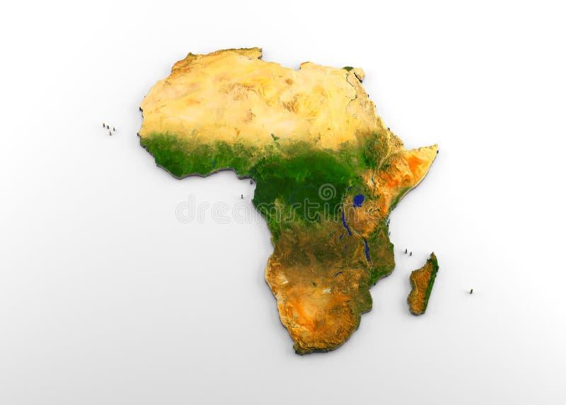 Afryka 3D Fizyczna mapa z ulgą ilustracja wektor