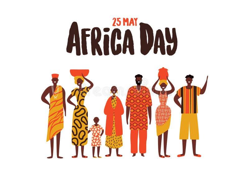 Afryka dnia karta różnorodni afrykańscy ludzie grup ilustracja wektor