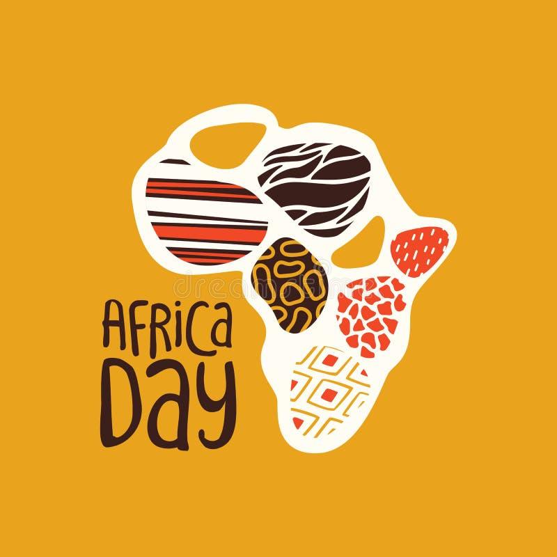Afryka dnia karta z plemiennej sztuki afryka?sk? map? ilustracja wektor
