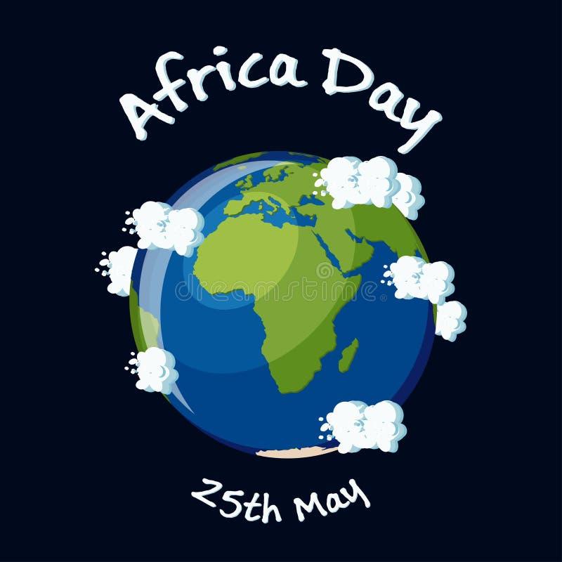 Afryka dnia kartka z pozdrowieniami z Afryka kontynentem na kuli ziemskiej, chmurach i tekscie na ciemnym tle Ziemskich, ilustracji