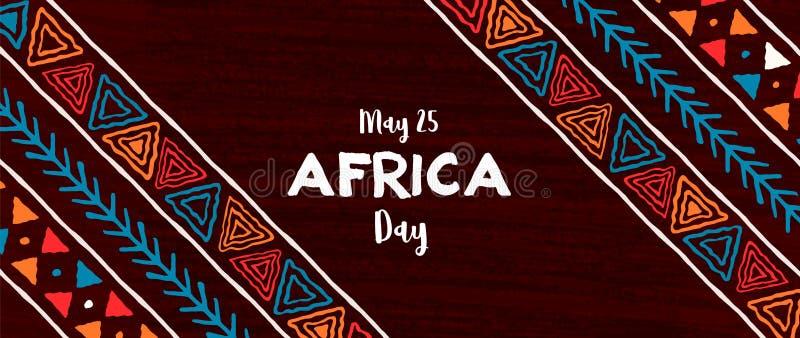 Afryka dnia sztandar tradycyjna afrykańska sztuka royalty ilustracja