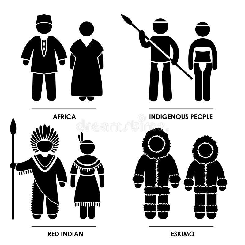 Afryka Eskimos Czerwony Indiański ilustracja wektor