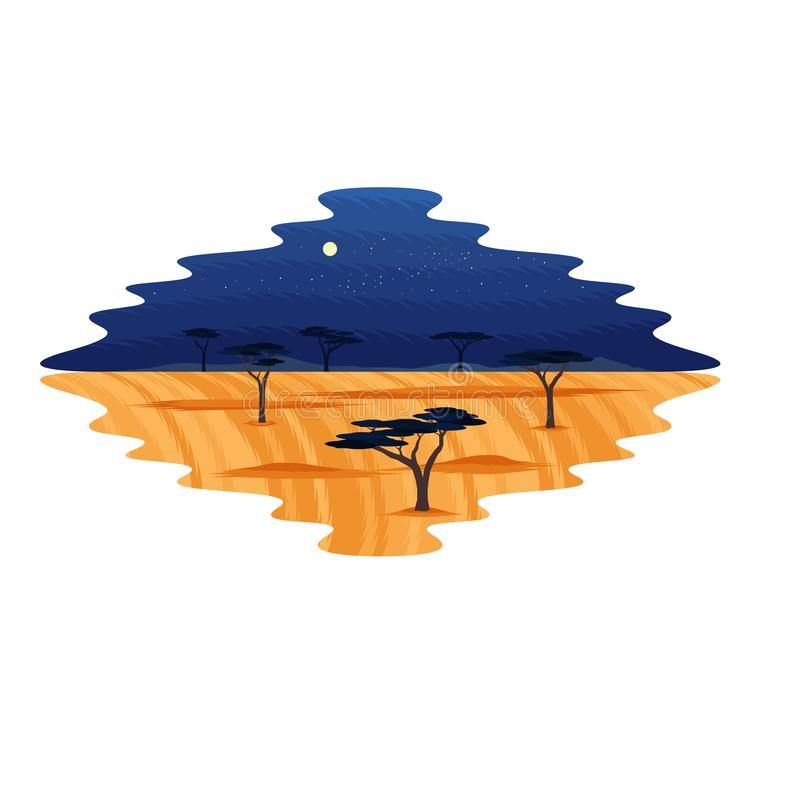 Afryka Glassland safari krajobrazu nocy Sawannowa scena royalty ilustracja