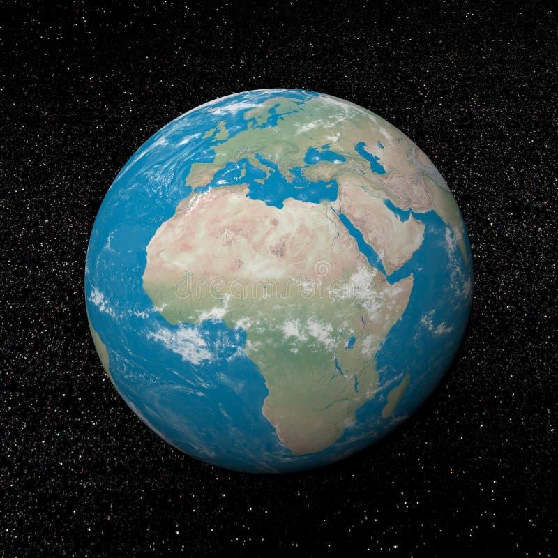 Afryka gwiazdy i kontynent - 3D odpłacają się ilustracja wektor