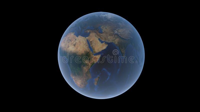 Afryka i Eurasia na piłce ziemia półwysep arabski w centrum, odosobniona kula ziemska, 3D rendering ilustracja wektor