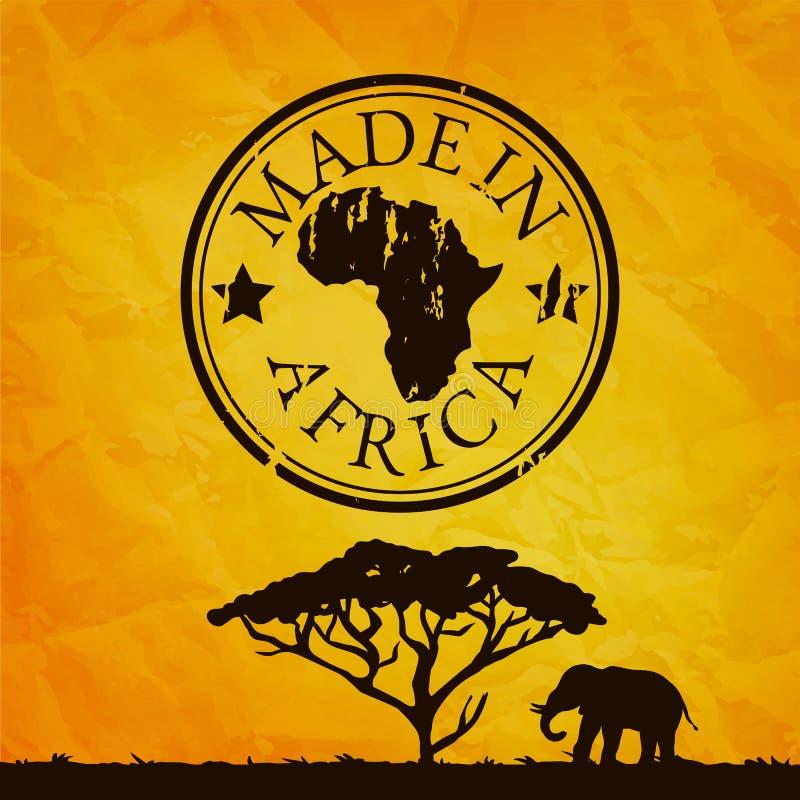 Afryka ilustracja z drzewa i słonia sylwetką ilustracja wektor